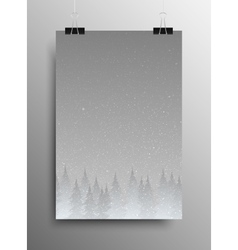Poster falling snow forest christmas trees vector