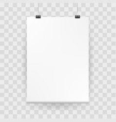 Mockup poster white blank mock up with binders vector