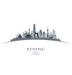 Beijing china city skyline silhouette white vector