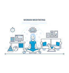 Girl in lotus position relaxing in peace quiet vector