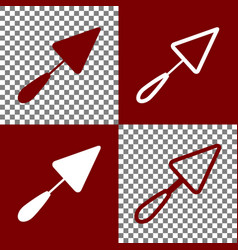 Trowel sign bordo and white icons and vector