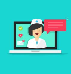 Doctor online  flat cartoon vector