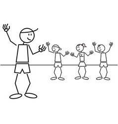 Stick figure kids greetings vector