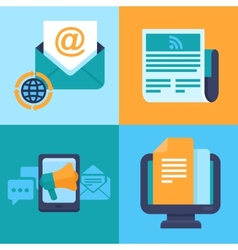 Email marketing concepts - flat icons vector