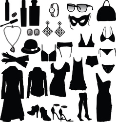 Decorative and feminine clothing items vector