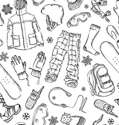 Seamless pencil pattern of snowboard gear vector