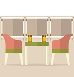 Empty dinner interior at balcony vector