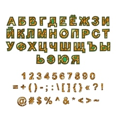 Decorative russian alphabet hand-drawn vector