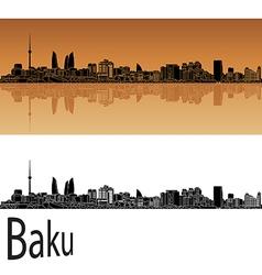 Baku skyline in orange vector image