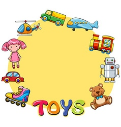 Border design with lots of toys vector image