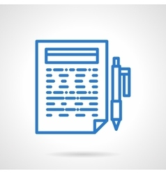 Writing reports blue line icon vector