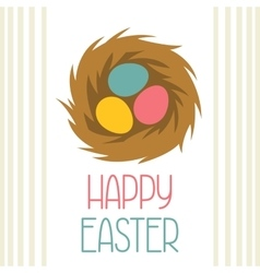 Happy easter greeting card with decorative nest vector