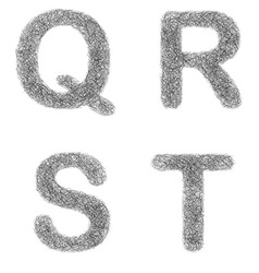 Furry sketch font set - letters q r s t vector