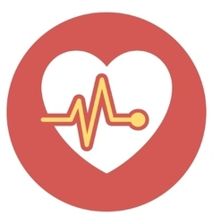 Heart pulse flat round icon vector
