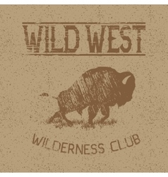 Western vintage label with bison vector