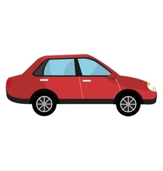Red car and black wheels graphic vector