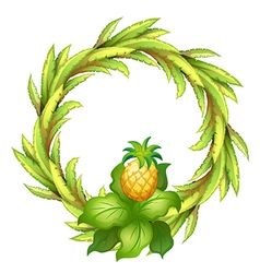 A green border with pineapple vector image