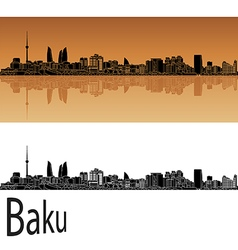 Baku skyline in orange vector image vector image
