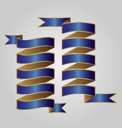 Blue with gold ribbon vector image vector image