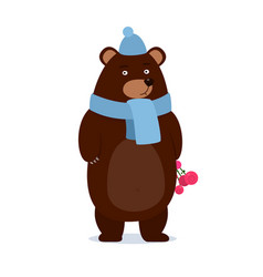 cartoon teddy bear wearing a scarf gives gift vector image