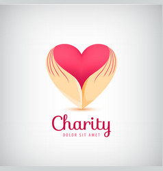 Charity logo 2 hands holding heart icon vector