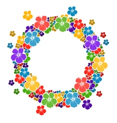 Circle frame with flowers for your text vector