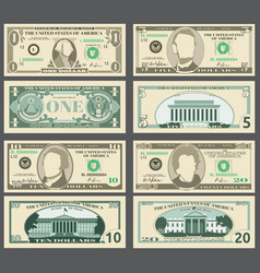 dollar banknotes us currency money bills vector image