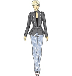 fashion sketch of woman in military jacket vector image vector image