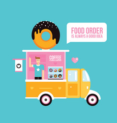 Food truck cafe delicious sweet donuts fast food vector