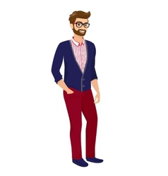 Hipster guy isolated vector