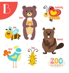 Letter B Cute animals Funny cartoon animals in vector image