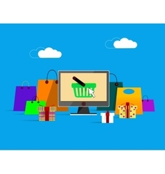 On line shopping banner vector image vector image