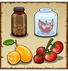 Pills fresh lemon and cherry tomatoes vector