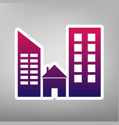 Real estate sign purple gradient icon on vector