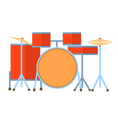 red drum set on white background bass tom-tom ride vector image vector image