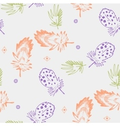 Seamless background pattern with abstract feathers vector image