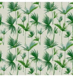 Seamless tropical palm leaves background vector