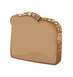 Slice loaf of freshly baked bread wheat grains vector