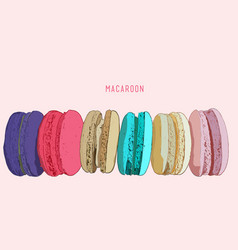 Stack of different french cookies macaroons or vector