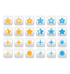 Stars yellow and blue stars buttons set vector