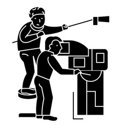 Television tv broadcast film crew film shooting vector