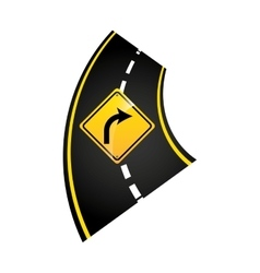 turn right road sign concept graphic vector image