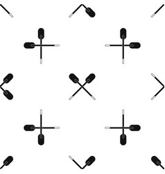 Two wooden crossed oars pattern seamless black vector