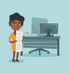 young african accountant holding long bill vector image vector image
