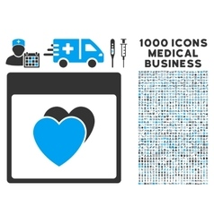 Hearts calendar page icon with 1000 medical vector