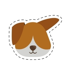 Face doggy pet with line dotted vector