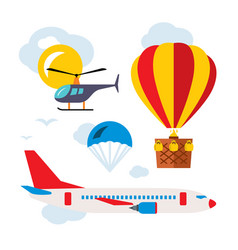 Aviation icons set flat style colorful vector