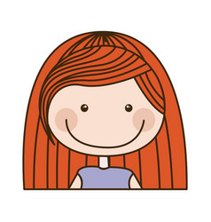 colorful caricature half body girl with red long vector image