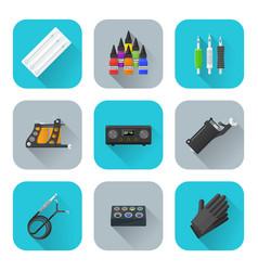 Tattoo equipment icons set vector