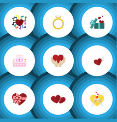 Flat icon love set of wings gift emotion and vector